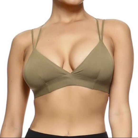 6956b12beb21f Olive  army green Bralette with cross back strap